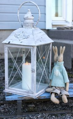 Onnela maalla: Maalailua Candels, Candle Lanterns, Bird Cage, Happy Easter, Decoration, Outdoor Living, Candle Holders, Shabby Chic, Lights