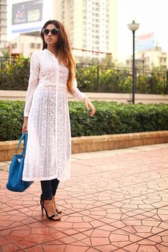Different Ways to style a White Kurta. India Fashion, Hijab Fashion, Trendy Fashion, Fasion, Fashion Outfits, Fashion Beauty, Indian Attire, Indian Wear, Indian Dresses