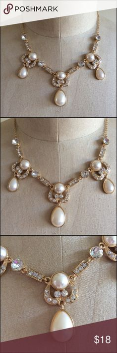 Faux Pearl And Rhinestone Necklace Elegant and a very nice design. Perfect for the mother of the bride. Gold tone, light weight. The overall length in the chain is 10 inches not including the Pearl , rhinestone area. There is a 3 inch extender chain.  Lobster closure Bundle and save 20% Unknown Jewelry Necklaces