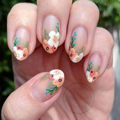 30 beautiful flower nails design ideas You worth trying – Page 18 – nageldesign. Flower Nail Designs, Nail Art Designs, Nails Design, Salon Design, Fun Nails, Pretty Nails, Lila Baby, Floral Nail Art, Short Nails Art