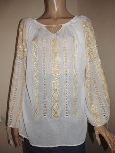 Hand Embroidered Romanian Peasant Blouse - yellow silk - handmade ethnic shirt size M Peasant Blouse, Blouse Dress, White Silk, Pakistani Dresses, Hand Embroidery, Ethnic, Anna, Bell Sleeve Top, White Dress