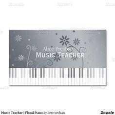 Music Teacher | Floral Piano Business Card