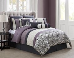 14 Piece Queen Darla Gray and Lilac Bed in a Bag Set >>> Details can be found by clicking on the image.