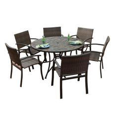 Carrolton Person Cast Aluminum Patio Dining Set With Round Table - 6 person round outdoor dining table