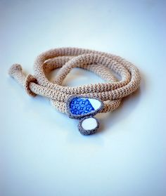 crochet necklace with sea pottery bead by stellamaria, via Flickr