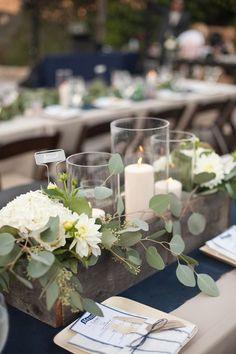 eucalyptus and candle centerpiece via katrina louise / http://www.deerpearlflowers.com/greenery-eucalyptus-wedding-decor-ideas/2/
