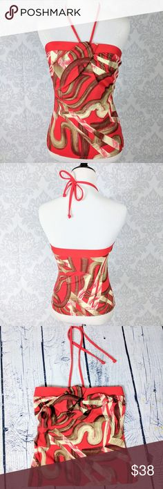 TARA GRINNA   Red abstract bandini NWOT Tara Grinna bandini top. Twist front bandeau style with halter neck ties. Red and tan abstract print. Tag says size 34 which goes by bra band size. So would fit a size 34 band woman. No cup inserts.   Flat across band: 13.5 inches  length (band to hem): 17 inches Tara Grinna Swim Bikinis