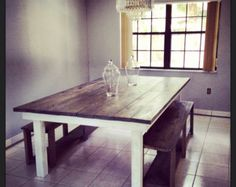 Rustic Dining Table w 2 Benches // Indoor Outdoor // Rustic Furniture // Rustic Decor