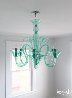 Aqua Glass Chandelier and bedroom design plan! // Lights, Design, Action!