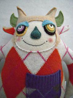 Argyle Stuffed Animal Monster Orange Upcycled Wool Sweater Repurposed