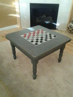 Would like something like this, but smaller for the porch. and keep the ceckers pieces in a mason jar :Dorothy Sue and Millie B's too: How to Paint a DIY Checkerboard Coffee Table Diy Coffee Table, Coffee Table With Storage, Diy Table, Furniture Makeover, Furniture Decor, Painted Furniture, Refurbished Furniture, Painted Game Table, Checkerboard Table
