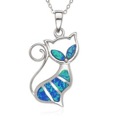 CloseoutWarehouse Teardrop Blue Simulated Opal Cubic Zirconia Cat Pendant Sterling Silver