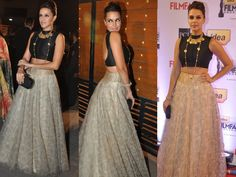 Want to wear your old lehenga at a friend's wedding but don't want to look OTT, blingy and overly-dressed up for the occasion? Give your old lehenga-choli a make over by teaming up your solid crop top with it and style with statement jewellery. Indian Fashion Trends, 2014 Fashion Trends, Fashion Themes, Indian Dresses, Indian Outfits, Indian Clothes, Spring Fashion Outfits, Fashion Dresses, Lehenga Crop Top