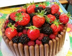 Summer fruit and chocolate fingers cake.