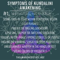 Symptoms of Kundalini Awakening Strongly Feeling and Seeing Energy The doctor tells you, your eye sight is normal but you come home perplexed as to why these orbs of light don't seem to disappear from your vision…Our world is made of energy and. Kundalini Yoga, Yoga Lyon, Energie Positive, New Energy, Spiritual Growth, Spiritual Awareness, Spiritual Awakening, Spiritual Enlightenment, Ayurveda