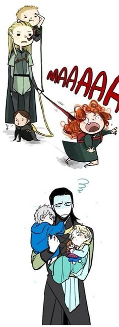 Legolas with Hawkeye, Merida, and Katniss, and Loki with Jack and Elsa. This is pretty much perfect XD Loki with jack and Elsa is adorable Legolas, Thranduil, Marvel Dc, Marvel Comics, Dc Memes, Marvel Memes, Disney And Dreamworks, Disney Pixar, Merida Disney