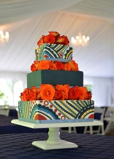 Square wedding cake with edible applique design inspired by West African textiles. Image by Carla Reich.