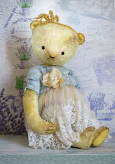 Artistic teddy bear OOAK Vintage collectible bear от HelikaToys