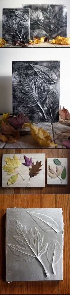Use large tropical leaves. White paint antiqued. Or shells