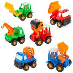 AmazonSmile: Fajiabao Kids Push Back Car Set Toy Mini Digging Car Mixer Truck Dump Truck and Cars Truck Model Toys for Boys 6 Pcs: Toys & Games
