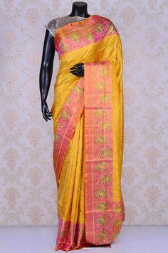 Yellow alluring patola silk saree with multicolor border-SR19987 South Silk Sarees, Ikkat Silk Sarees, Silk Sarees Online, Silk Thread, Ikat, Sari, India, Pure Products, Elegant