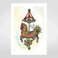 Fine art Horse vintage por Ed Hand & Ink  R$48,0