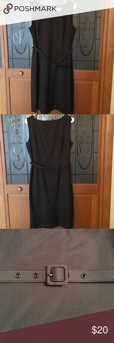 Kasper Black Pinstripe Sleeveless Dress Kasper black pinstripe sleeveless dress with little belt, size 12. Can be worn without belt. Excellent condition, barely worn. Has built in lining and comes to just below knees. Dry clean.  Smoke free home. Kasper Dresses Midi