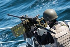 BALTIC SEA (May 24, 2017) An Estonian sailor mans a machine gun during a damage control drill aboard Standing NATO Mine Countermeasures Group 1 (SNMCMG1) flagship ENS Wambola while patrolling in the Baltic Sea.