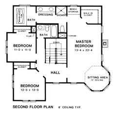 Farmhouse Style House Plan - 3 Beds 2.5 Baths 2340 Sq/Ft Plan #10-204 Upper Floor Plan - Houseplans.com