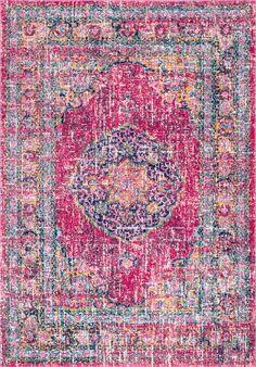 Pretty and pink! This is Rugs USA's Bosphorus Birgen Oriental Mandala Medallion BD42 Rug!
