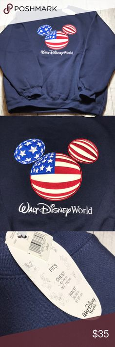 "Walt Disney World Men's Crew Sweatshirt Large USA Walt Disney World Resort Sweatshirt Men's  Large Crewneck Mickey Flag Embroidery to Front  Fits Chest: 42-44 in Waist:  36-38""   L Walt Disney Shirts Sweatshirts & Hoodies"