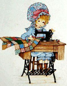 Miss Petticoat Ilustraciones Infantiles. Sewing a Quilt. Holly Hobbie, Images Vintage, Vintage Cards, Dolly Doll, Alexander Dolls, Madame Alexander, Sewing Art, Cute Illustration, Digital Pattern