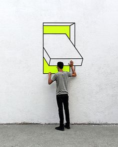 Graffiti as an optical illusion A graffiti is an ugly doodle . - Street-Art (Murals, Graffiti, Kunst, Installationen) - HoMe 3d Street Art, Street Art Graffiti, Street Artists, Graffiti Kunst, Graffiti Murals, Graffiti Lettering, Wall Street, Street Installation, Tape Installation