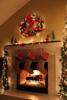 Christmas Fireplace: Love the idea of initials instead of names on the stockings. Cute!