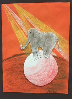 This lovable elephant puts the fun back into circus art! Check out how this fifth grade artist had shaded the ball to look 3-dimensional. This is a great lesson for color, shape and design.