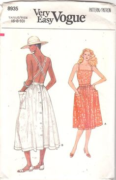 Vogue 8935 Misses Very Easy Sun Dress Pattern A by mbchills Diy Clothing, Sewing Clothes, Clothing Patterns, Women's Dress Patterns, Dress Sewing, Sundress Pattern, Vintage Vogue Patterns, Patron Vintage, Diy Couture