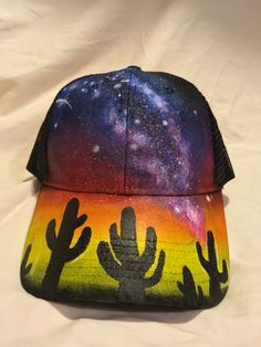 8a69a61f3e9 Hand Painted Galaxy Snapback Trucker Hats by GalaxyWearUnlimited Painted  Hats