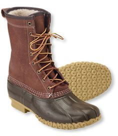 """#LLBean: Men's Tumbled-Leather L.L.Bean Boots, 10"""" Shearling-Lined"""