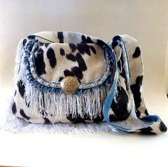 Etsy listing at https://www.etsy.com/listing/208428845/denim-and-faux-cowhide-hobo-bag-boho-bag #handbags #etsy #western #western wedding. $87.00