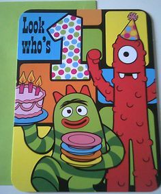 Yo Gabba Gabba Happy 1st First Birthday Muno Brobee Card Greeting