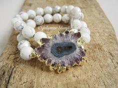 Stretch Amethyst Stalactite Bracelet Agate Geode by julianneblumlo, $98.00