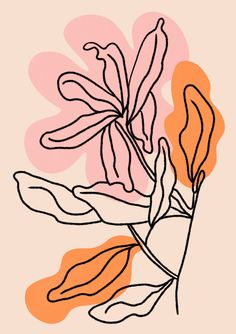 Floral line art PRINT Flower Line Art Blush Pink Wall Art One Line Flower Botanical Flower Print Pink Watercolour Print Framed print Illustration Inspiration, Art Et Illustration, Inspiration Art, Floral Illustrations, Art Mural Rose, Label Art, Posca Art, Line Flower, Line Art Flowers