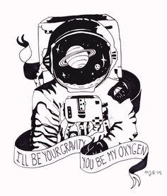 you're my gravity Space Drawings, Dark Drawings, Tattoo Drawings, Desenho Tattoo, Science Art, Ink Art, Body Art Tattoos, Art Inspo, Wall Murals
