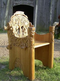 tremblingcolors:Beautiful carved wood chair