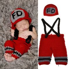 9116fa1116398 Firefighter Hero Newborn Infant Baby Boy or Girl Crochet Set Photography  Prop