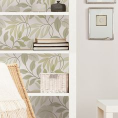 Easily add detail to the back of any bookcase with peel and stick wallpaper!