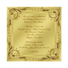 """Beautiful! """"Elegant Gold 50th Wedding Anniversary Party Personalized Announcements""""  but of course, you can customize it by adding any text you like, to turn it into a wedding announcement/invitation, engagement party invites, or any other type of important function."""