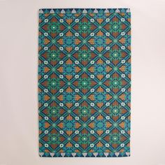 Blue Barcelona Tiles Indoor-Outdoor Rug | World Market. Made of recycled plastic. Oooh, on the deck?