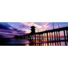 Huntington Beach Pier at sunset Huntington Beach California USA Canvas Art - Panoramic Images (7 x 18)