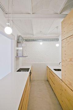 Barcelona apartment renovation by Spanish architect Carles Enrich - Amazing Interior Design Apartment Renovation, Renovations, Apartment, Bedroom Design, Plywood Kitchen, House, Bathroom Units, Kitchen Interior, Barcelona Apartment